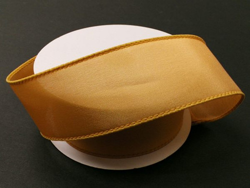 """Solid Antique Gold Satin Ribbon Wired 2.5"""" x 10Yds"""