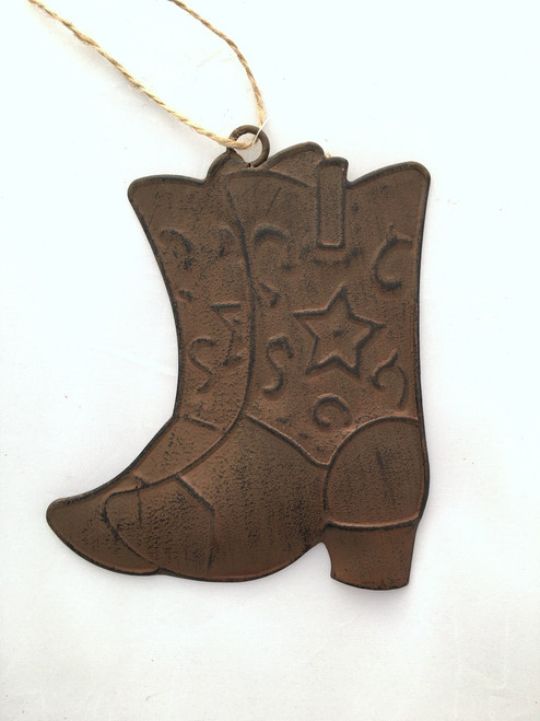 Rustic Tin Cowboy Boot Ornament
