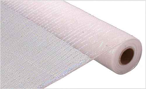 """White with White Iridescent Foil - 21"""" X 10Yd Deco Mesh"""