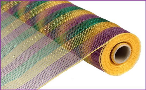 "21"" Deco Poly Mesh: Mardi Gras Purple Green Gold"