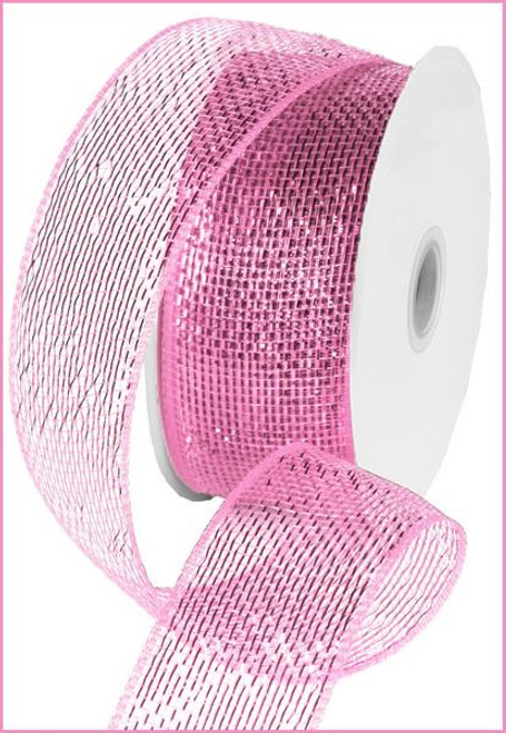 """Metallic Pink with Pink Foil  Deco Mesh - 2.5"""" X 25Yds"""