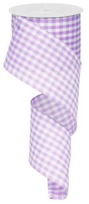 "Lavender and White Gingham Check Ribbon - 2.5"" X 10Yds"