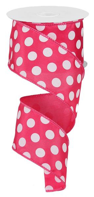 """Hot Pink and White Polka Dot Satin Ribbon Wired - 2.5"""" x 10Yds"""