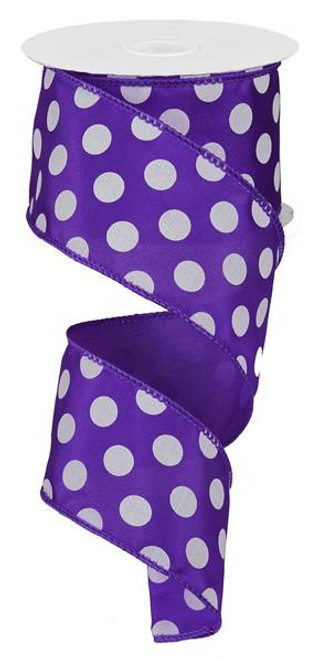 "Purple and White Polka Dot Satin Ribbon Wired - 2.5"" x 10Yds"