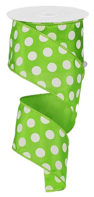 "Lime and White Polka Dot Satin Ribbon Wired - 2.5"" x 10Yds"