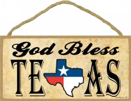 God Bless Texas Wooden Sign