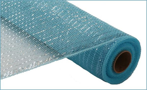 "Metallic Turquoise Blue with Turquoise Foil - 21"" X 10Yd"
