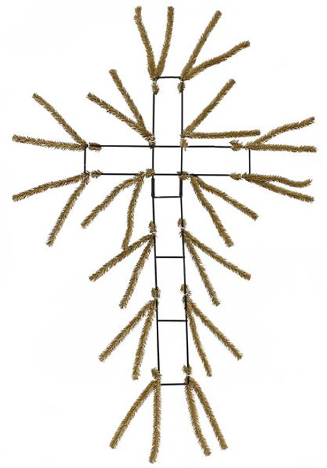 "20"" Pencil Work Cross Form Burlap"