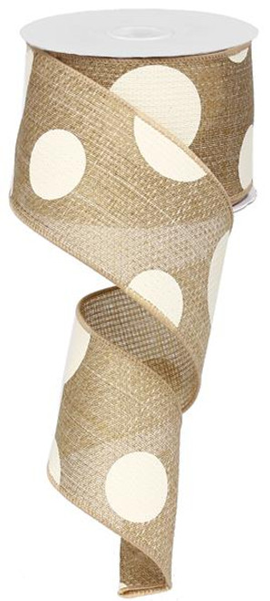 "2.5"" x 10yd Faux Burlap Giant Dot Ribbon: Natural/Ivory"