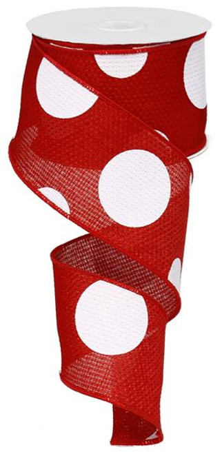 "2.5"" x 10yd Faux Burlap Giant Dot Ribbon: Red/White"