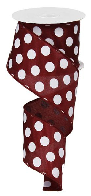 "Maroon and White Polka Dot Satin Ribbon Wired - 2.5"" x 10Yds"