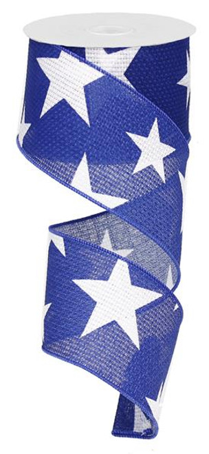"2.5"" X 10Yds Faux Burlap Star Ribbon: Royal Blue/White"