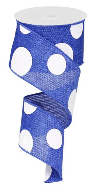"2.5"" x 10yd Faux Burlap Giant Dot Ribbon: Royal Blue/White"