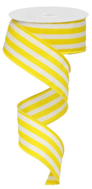 "1.5"" Vertical Stripe Ribbon: Yellow/White-10Yds"