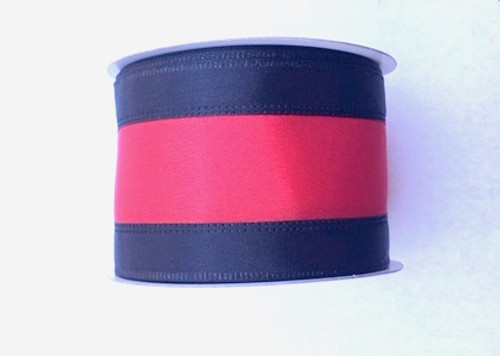 "2.5"" Black/Red Stripe Ribbon - 10Yds"
