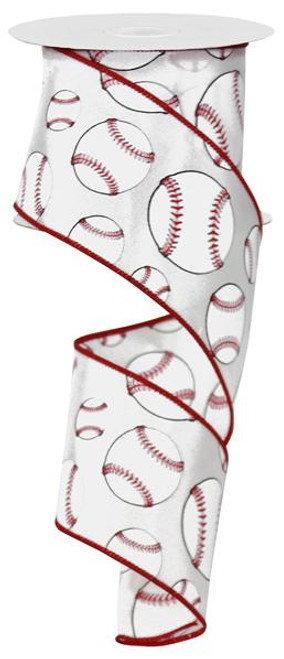 "2.5"" Baseball Print Ribbon - 10yds"