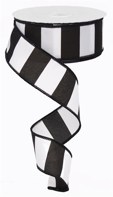 "1.5"" Wide Stripe Ribbon: Black/White (10yds)"