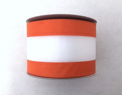 "2.5"" Orange/White Stripe Ribbon - 10Yds"