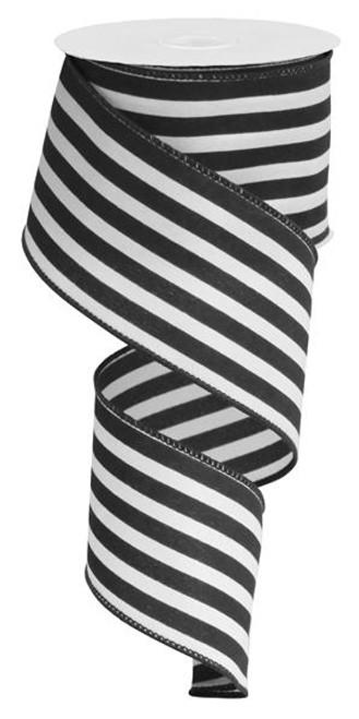 "2.5"" Vertical Stripe Ribbon: Black/White-10Yds"