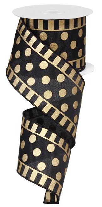 "Dot and Stripe Satin Ribbon: Black/Gold - 2.5"" x 10Yds"