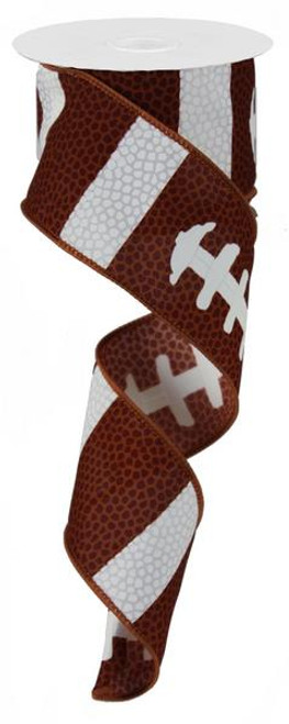 "Football Lace Ribbon - Brown and White - 2.5"" X 10Yd"