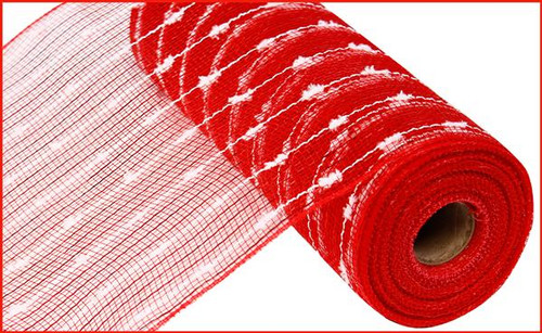 "10.5"" Metallic Snowball Mesh: Red/White (10 Yards)"
