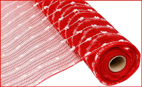 "21"" Metallic Snowball Mesh: Red/White (10 Yards)"
