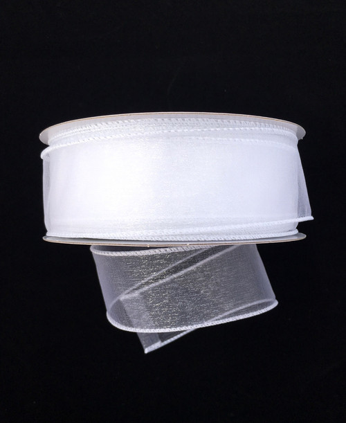 "1.5"" Sheer Wired Ribbon: White (25yds)"