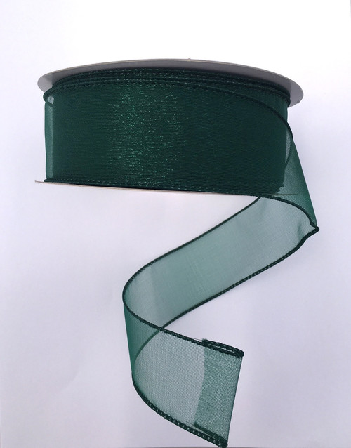 "1.5"" Sheer Wired Ribbon: Hunter Green (25yds)"