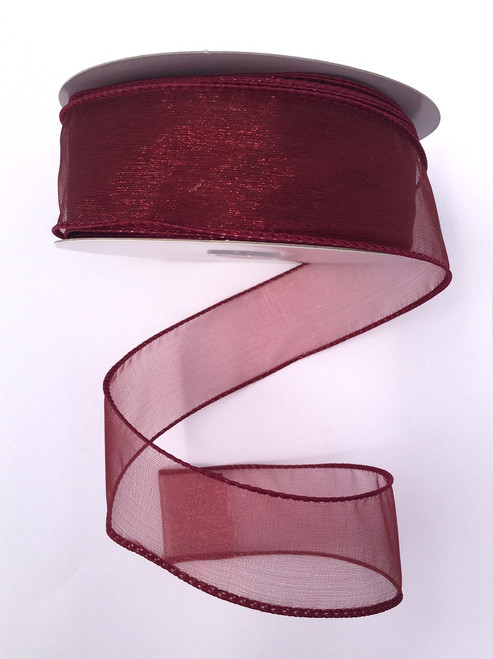 "1.5"" Sheer Wired Ribbon: Burgundy (25yds)"