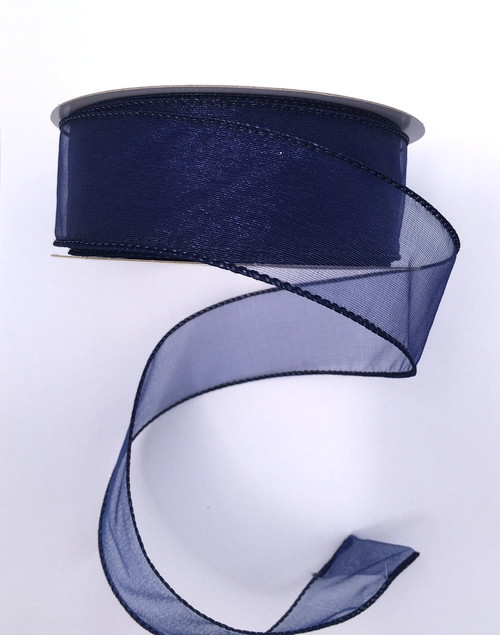 "1.5"" Sheer Wired Ribbon: Navy (25yds)"