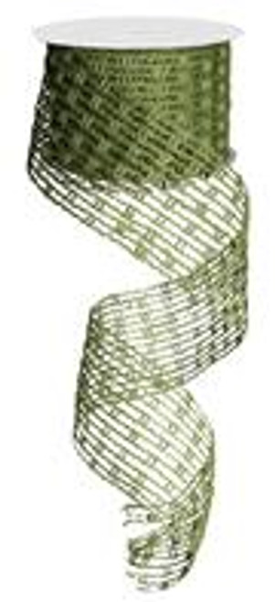 """Jute Mesh Stretchable Wired Ribbon: Moss Green - 2.5"""" X 10Yds"""