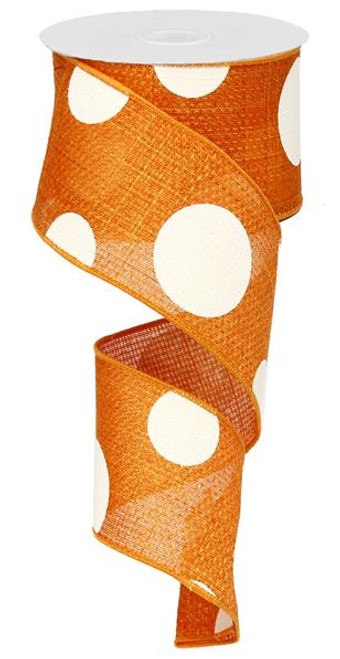 "2.5"" x 10yd Faux Burlap Giant Dot Ribbon: Orange/Ivory"