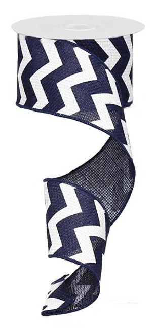 "2.5"" Navy Blue/White Chevron Ribbon - 10Yds"