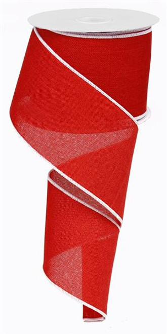 "Red/White Edge Royal Linen Ribbon - 2.5"" x 10Yd"
