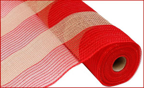 """21"""" Poly Jute Mesh: Red/Natural Wide Stripe"""