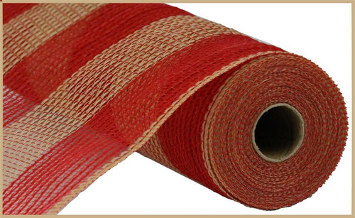 "10.5"" Poly Faux Jute Mesh: Wide Red/Natural Stripe"
