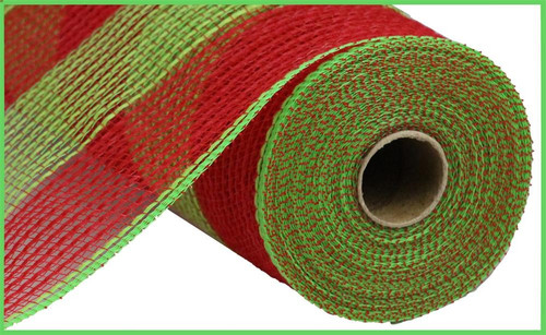 "10.5"" Poly Faux Jute Mesh: Wide Red/Lime Green Stripe"