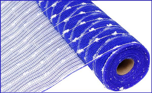 "21"" Metallic Snowball Mesh: Royal Blue/White (10 Yards)"