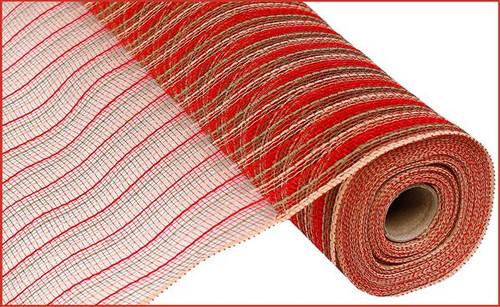 """21"""" Poly Faux Jute Mesh: Red/Moss Green/Natural"""