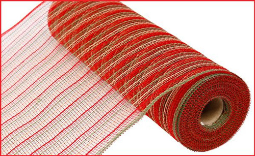 """10.5"""" Poly Faux Jute Mesh: Red/Moss Green/Natural"""