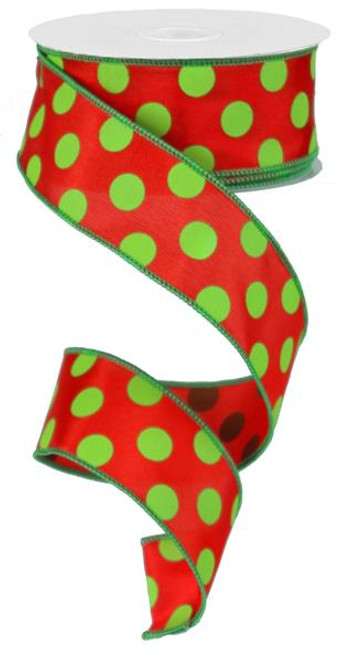 "Red/Lime Green Polka Dot Satin Ribbon - 1.5"" x 10Yds"