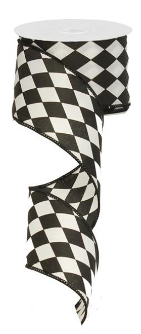 "2.5"" Diamond Harlequin Ribbon: Blk/Wht - 10Yds"