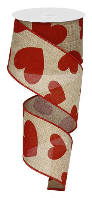 "2.5"" Large Heart Ribbon: Beige/Red - 10yds"