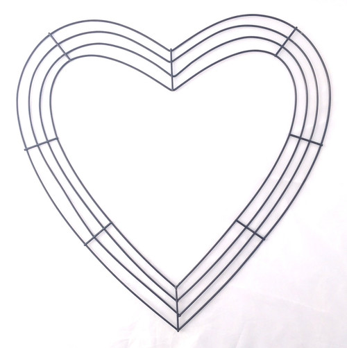 "18"" Flat Wire Heart Frame x 4 Wires: Black"