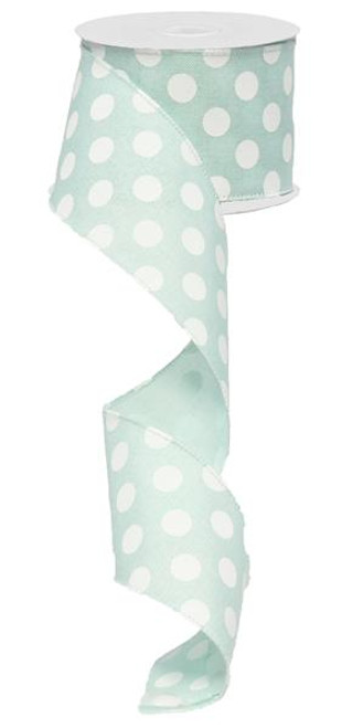 "2.5"" x 10yd Canvas Polka Dot Ribbon: Mint Green/White"