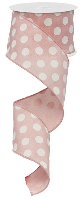 "2.5"" x 10yd Canvas Polka Dot Ribbon: Rose Pink/White"
