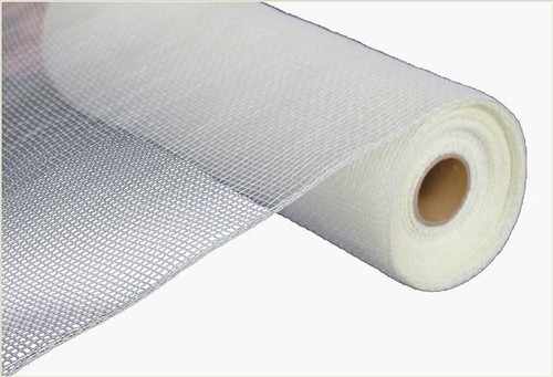 "10"" Deco Poly Mesh: Two Tone Cream/White"