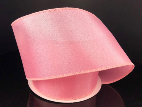 """Solid Pink Satin Ribbon Wired 2.5"""" x 10Yds"""
