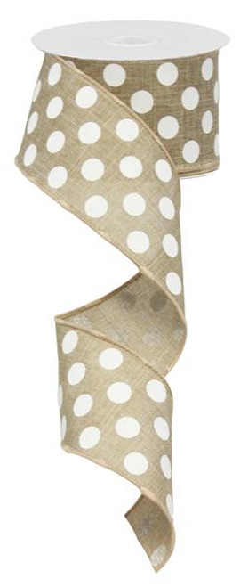 "2.5"" x 10yd Canvas Polka Dot Ribbon: Beige/White"